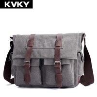 KVKY Men Canvas Messenger Bags High Quality Multifunction Shoulder Bags Vintage Crossbody Bag Men S Handbags