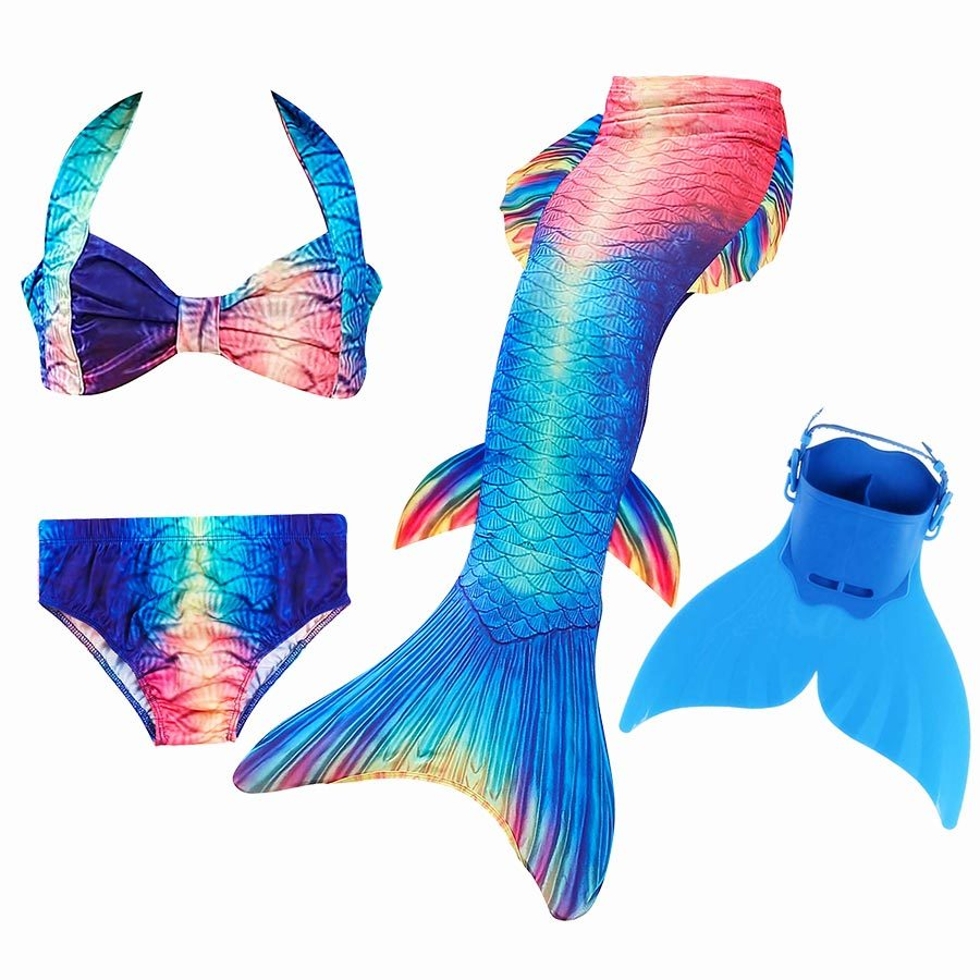 children kids little girls mermaid tails for swimming costume with monofin Swimmable Swimsuit with Bikini Flipper suit swimwear