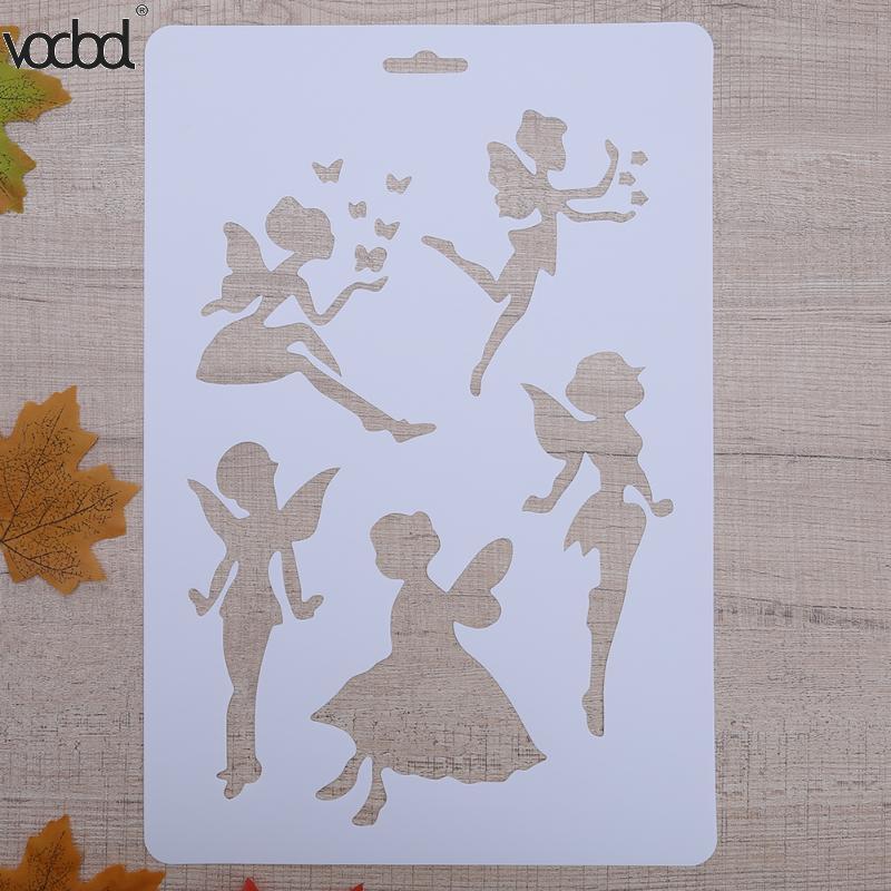 VODOOL DIY Craft Fairy Layering Plastic Stencils Template For Walls Scrapbooking Painting Phone Album Decor Embossing Paper Card