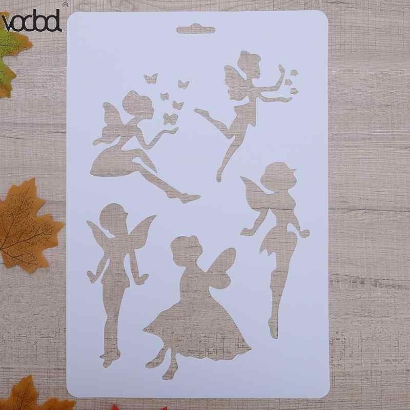 VODOOL DIY クラフト妖精階層化プラスチックステンシルテンプレート壁スクラップブッキング絵画電話アルバムの装飾エンボス紙カード