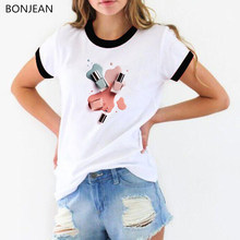2019 summer top female korean clothes women fashion watercolor nail polish printed tshirt femme camiseta mujer tumblr t shirt(China)