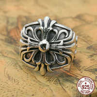 S925 sterling silver men's ring personality fashion jewelry simple cross shape couple style 2018 new gift to send lover