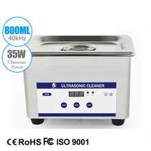 Digital Mini Ultrasonic Cleaner Metal Basket Washing Jewelry Watches Dental PCB CD 800ml 35W 40kHz Cleaner Bath(China)