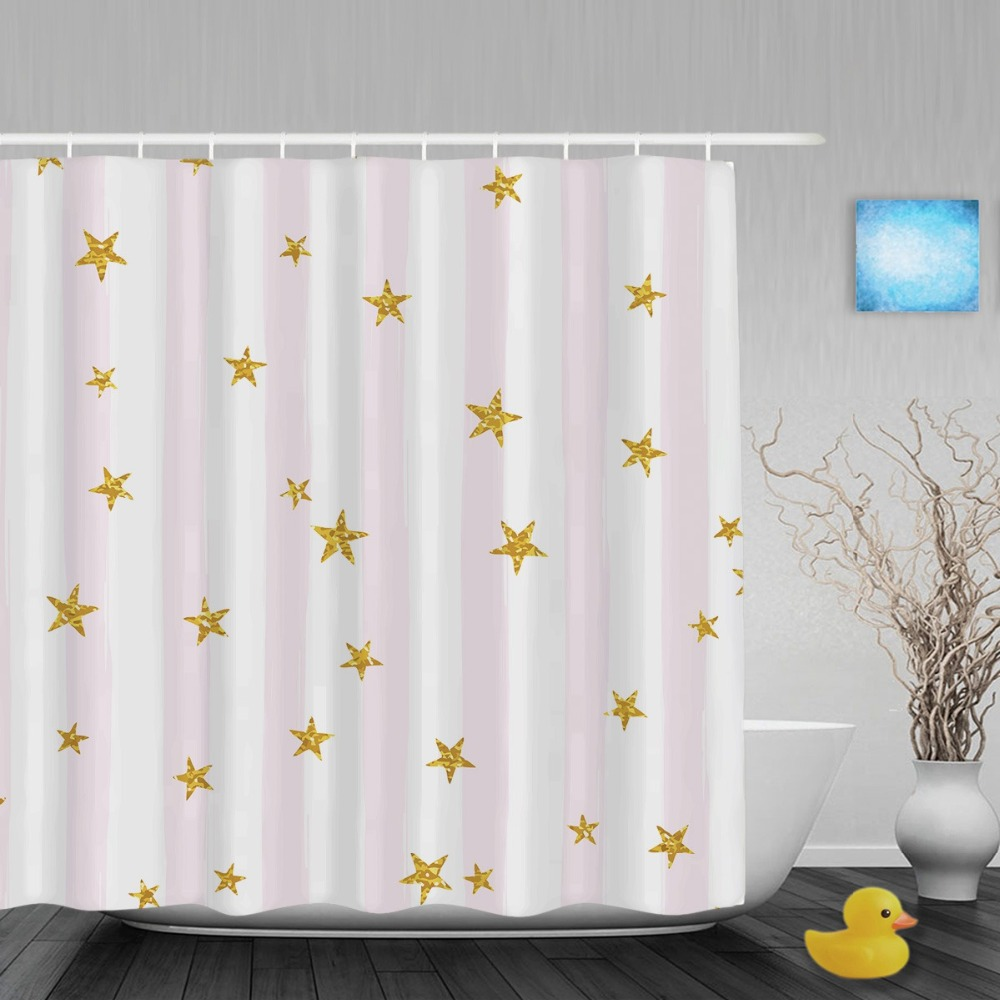 Popular Grey Chevron Shower Curtains - Gold glittering star bathroom shower curtains pink white stripe background shower curtain waterproof polyester fabric with hooks