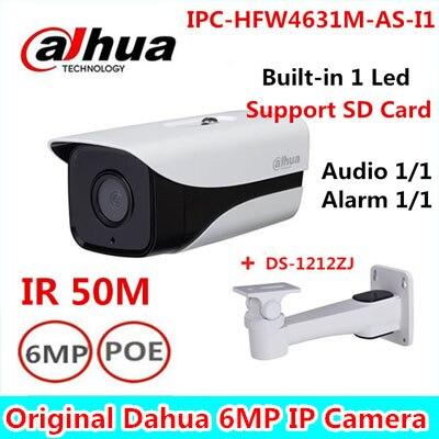 Dahua IPC-HFW4631M-AS-I1 6MP Stellar Camera built-in POE SD Card slot Audio Alarm interface IP67 IR50M outdoor IP Camera wholesale dahua dh ipc hdbw4233r as 2mp ir mini dome network ip camera ir poe audio sd card stellar h265 h264 ipc hdbw4233r as