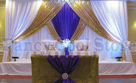 2018 Lastest Gold White With Royal Blue Wedding Stage Curtain