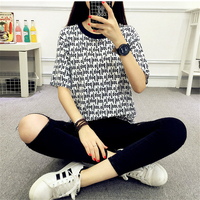 2017 Korean Harajuku Summer T-shirt Female Short Sleeve BF Letters Striped Basic T-shirt Women Casual Loose Tops Girl S-XL