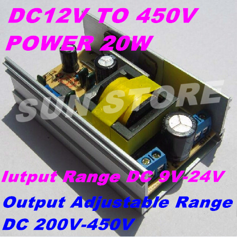 Freeshipping DC-DC Step Up Converter DC12V To 450V DC Step Up Module 9-24V To 200-450V Output Power20W Output Voltage Adjustable