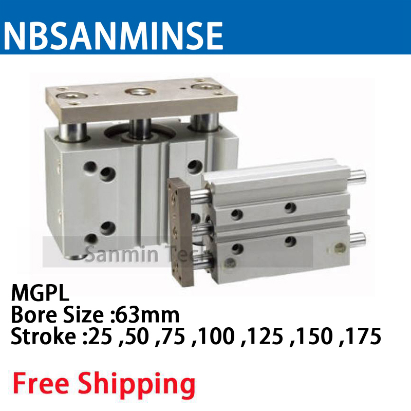 MGPL Bore Size 63 Compressed Air Cylinder SMC Type ISO Compact Cylinder Miniature Guide Rod Double Acting Pneumatic Sanmin compressed air cj2b 16 bore size iso air cylinder single acting spring return extend double acting pneumatic parts sanmin