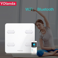 Yolanda Premium Bathroom Scale WiFi Bluetooth Body Fat Weight mi Scales Floor Smart Human Weighing Scale Heart Rate Detection