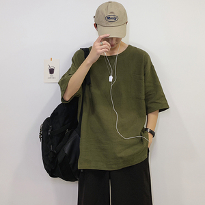 Summer New T Shirt Men Fashion Solid Color Casual Short-sleeved Tshirt Man Streetwear Wild Hip-hop Loose Cotton Linen T-shirt