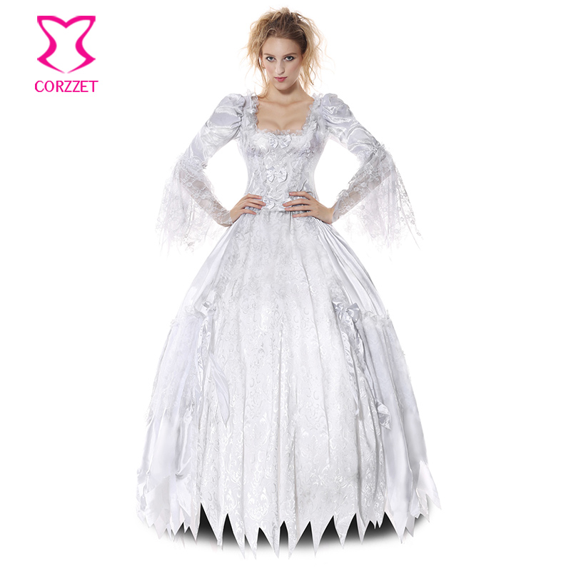 Victorian Gothic Zombie Ghost Bride Fancy Dress White Lolita Cosplay Vampire Corpse Countess Sexy Halloween Costumes for Women