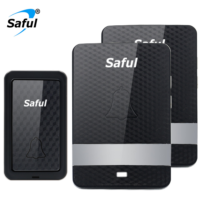Saful New 12V Waterproof DoorBell Wireless Self-powered Black Plug-in Led Light Door Bell with 1 Push Button+2 Indoor Receiver