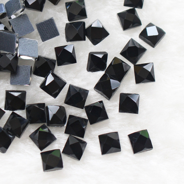 Squre hotfix Glass beads 130pcs lot 6 6mm crystals and stones Black Rhinestones  Hot 37abcbc36a8a