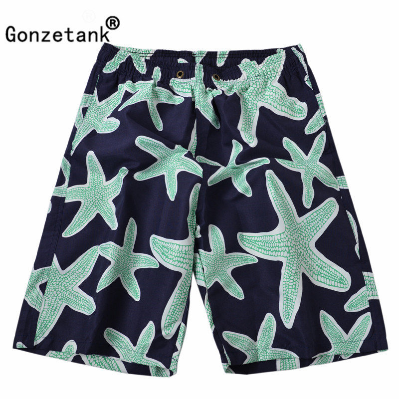 Gonzetank 2017 New Designer Summer Hawaiian Mens Beach Shorts Waisted Green Starfish Bermuda Sweat Jogger Cargo Short Size XXL