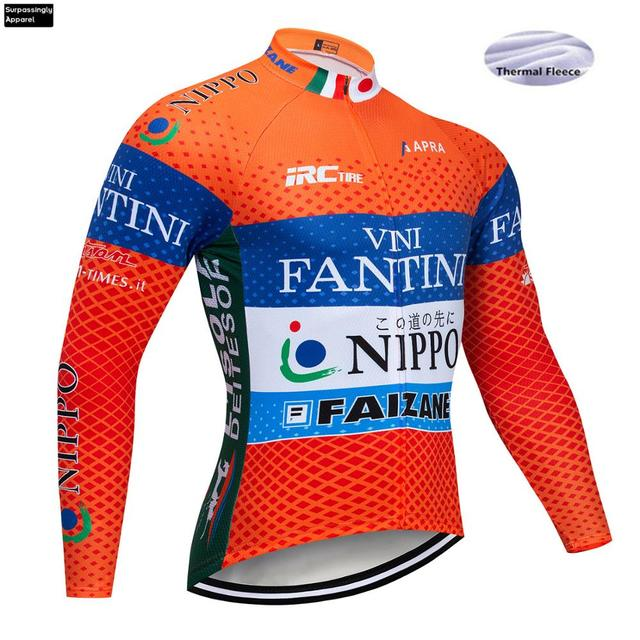 Cycling Jerseys VINI Orange Winter Thermal Fleece Men MTB Mountain Bike Clothing Road Bicycle Wear Breathable Maillot Culotte