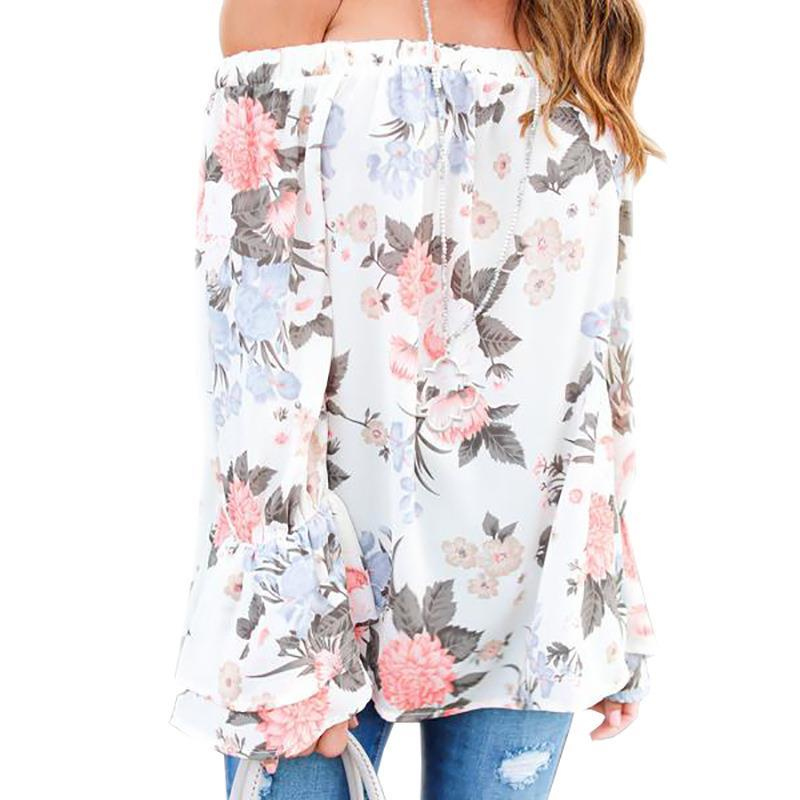 Summer Women Blouses Long Sleeve Blouse Shirt Floral Print Off Shoulder Loose Casual Ladies Shirts LJ9670E