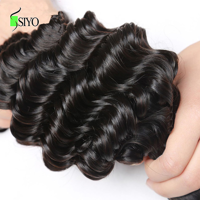 SIYO Hair Deep Wave Burmese Hair Weave Bundles With Closure Human Hair 3 Bundles With Closure Non-Remy Lace Closure Free Part