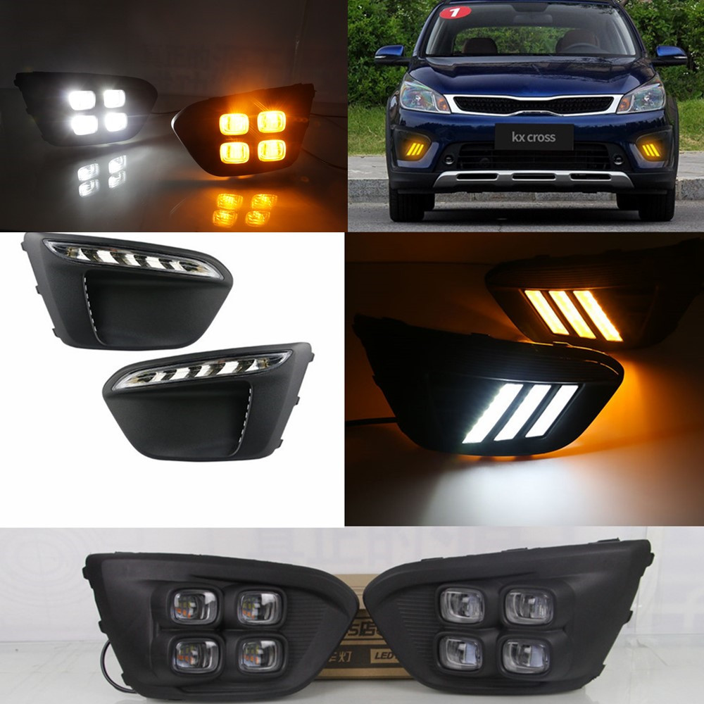 Car flashing 1pair Super Bright Car LED For Russia KIA RIO X Line 2018 With Turn