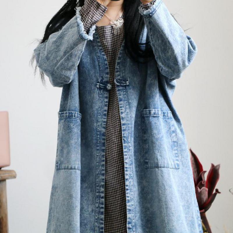 2018 데님 트렌치 코트 자수 패션 싱글 버튼 v 넥 솔리드 컬러 더블 포켓 헴 버 플러스 사이즈 카우보이 코트 uswmie-에서트렌치부터 여성 의류 의  그룹 3