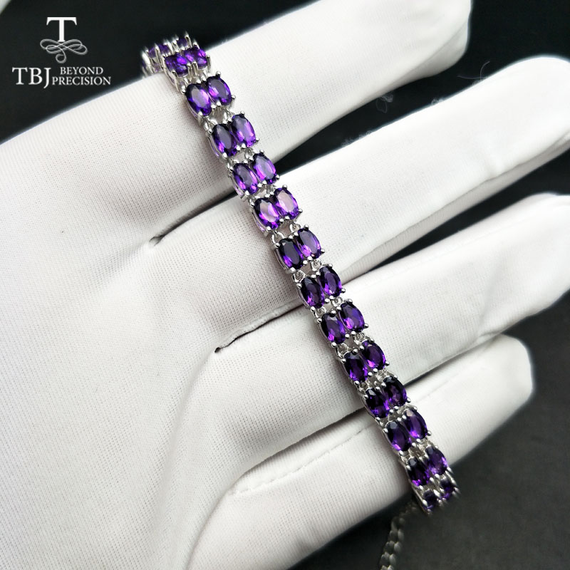TBJ,100%natural amethyst bracelet made by 925 Solid Sterling Silver Vintage crystal bracelet for woman evening party jewelryTBJ,100%natural amethyst bracelet made by 925 Solid Sterling Silver Vintage crystal bracelet for woman evening party jewelry