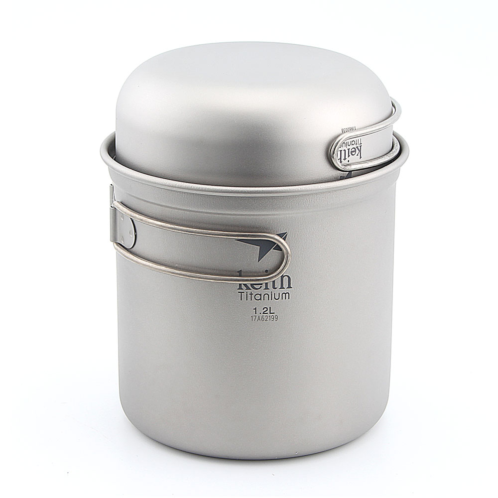 Keith Ti6051 Titanium Cookware Pot Outdoor Camping Ultralight Titanium Cookware 400+1200ml keith double wall titanium beer mugs insulation drinkware outdoor camping coffee cups ultralight travel mug 320ml 98g ti9221