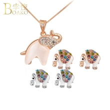 BOAKO Summer Elephant Necklace Women Zircon Crystal Rose Gold Pendant Necklaces Animal Chokers Girl Colar Z5