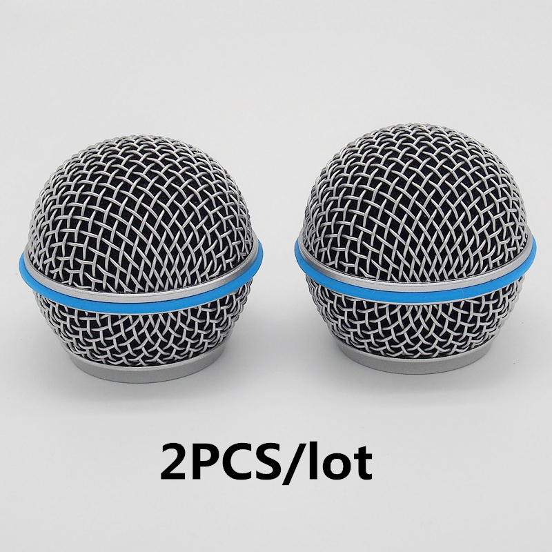 Finlemho Microphone Shield Mesh Accessories Covers 2PCS Windscreen Ball Head Grill Beta 58A For Handheld Microphone Wireless
