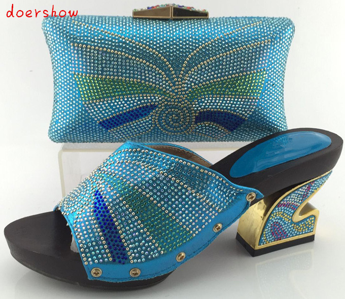 doershow Nice-looking italian matching shoes and bag set ladies shoes and bag to match for nigerian wedding  blue!  HJY1-12 doershow african shoes and bags fashion italian matching shoes and bag set nigerian high heels for wedding dress puw1 19