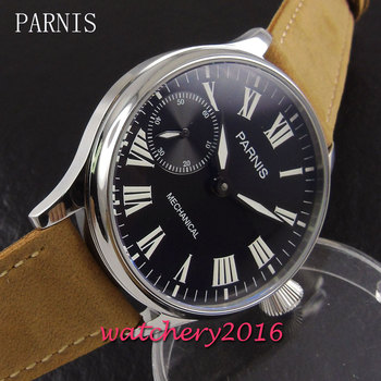 PARNIS 44mm black dial Stainless steel Case Luminous Top Luxury Brand 17 jewels hand winding 6497 movement new Men's Wristwatch