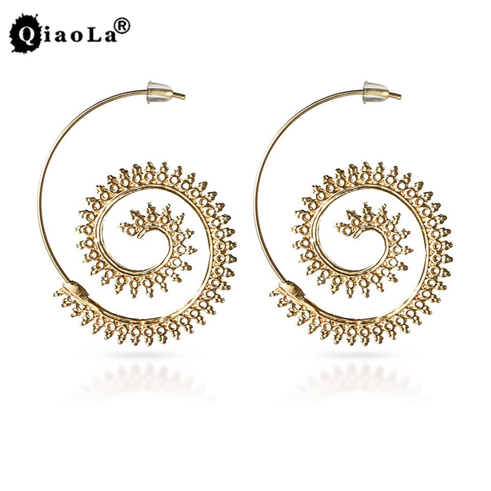 Qiao La Steampunk Round Swirl Dangler Earring for Women Gold Silver Tone Unice Earrings Party Accessories Ethnic indian jewelry