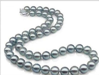 AAAA 18 10-11mm REAL NATURAL south sea gray pearl necklace Sterling silver >Selling jewerly free shipping