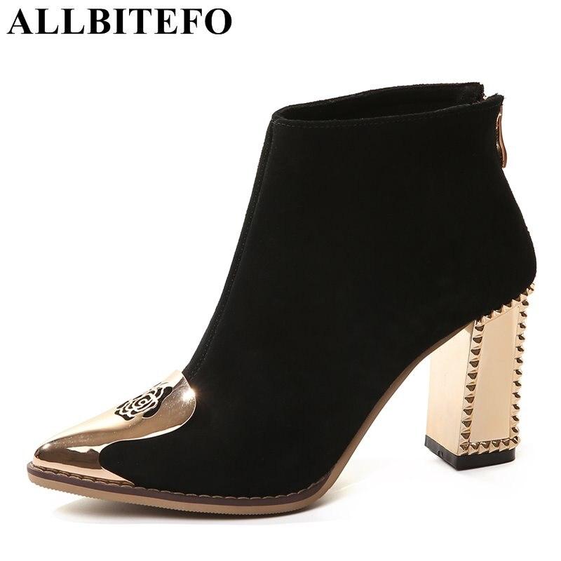 ALLBITEFO cuero nobuck talón grueso punta estrecha mujeres botas metal toe tacones altos tobillo botas niñas botas sapatos femininos