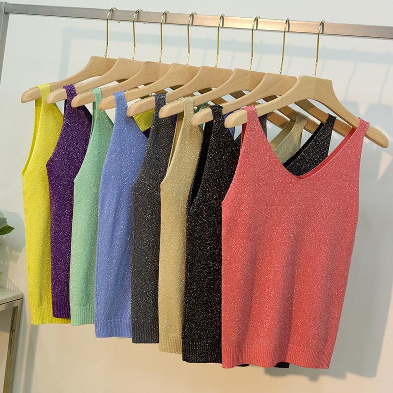 Camisetas sin mangas de 18 colores para mujer sexis con cuello en V tejidas camisola Club Girls Metal Correa Camis Thin Shiny Glitter Bling