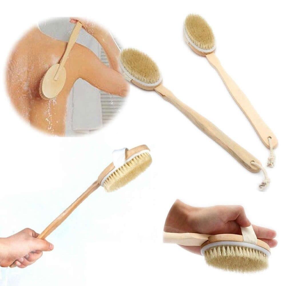 Body Dry Brush Natural Boar Bristle Organic Body Brush Bamboo Wet Back Shower Brushes Exfoliating Bathing Brush