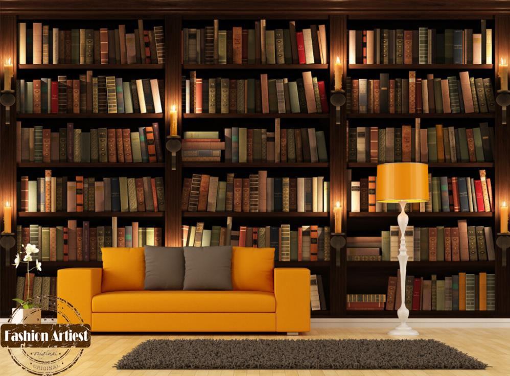 study bookshelf modern wall living 3d sofa tv mural bookcase bedroom cafe background books murals shelves painting candle zoom custom