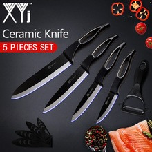 XYj Kitchen Ceramic Knife Cooking Set 3, 4, 5, 6 inch + Peeler White And Black Blade Hollow Handle Cooking Knife Kitchen Tools