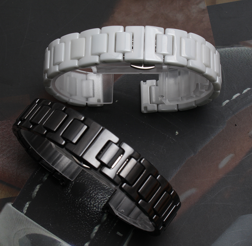 14mm 20mm High quality Silver Depolyant Watch Buckle White Black Ceramics Watch Bands Bracelets Common Watchband
