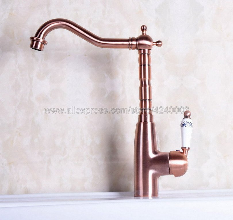 Antique Red Copper Ceramic handle Deck mounted kitchen faucet Bathroom basin faucet sink Faucet Mixer Tap Knf132Antique Red Copper Ceramic handle Deck mounted kitchen faucet Bathroom basin faucet sink Faucet Mixer Tap Knf132