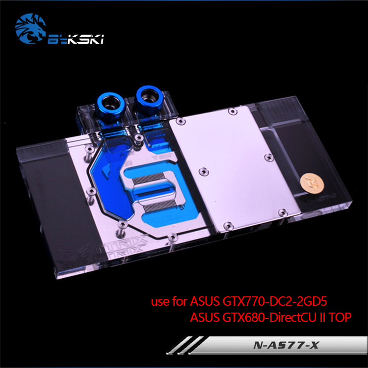 Bykski Water Block use for ASUS GTX770-DC2 / GTX680 DCUII / Full Cover Graphics Card Copper Radiator Block 4PIN 12V RGB Light цена