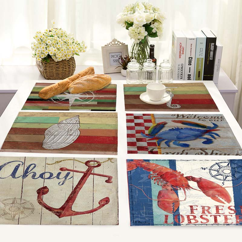 Ocean animal Pattern Table Mat Animal Table Napkin Placemat Kitchen Decoration Dining Accessories 42x32cm MS0009