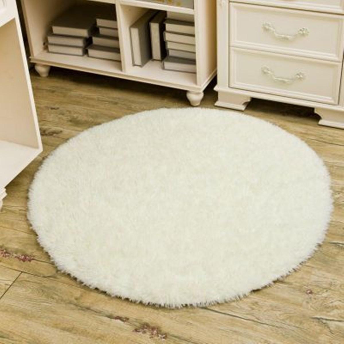 Non Slip Shower Bedroom Mat White Shaggy Rug Round Long