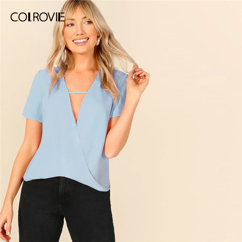 COLROVIE Blue V Neck Cut Out Front Wrap Draped Top Women Workwear   Blouse     Shirt   2019 Summer Short Sleeve Office Ladies   Blouses