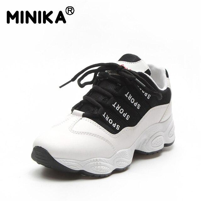 לבן סניקרס נשים מגופר נעלי אופנה לנשימה שמנמן סניקרס מקרית תחרה עד נעלי גבירותיי פלטפורמת נעלי Chaussure