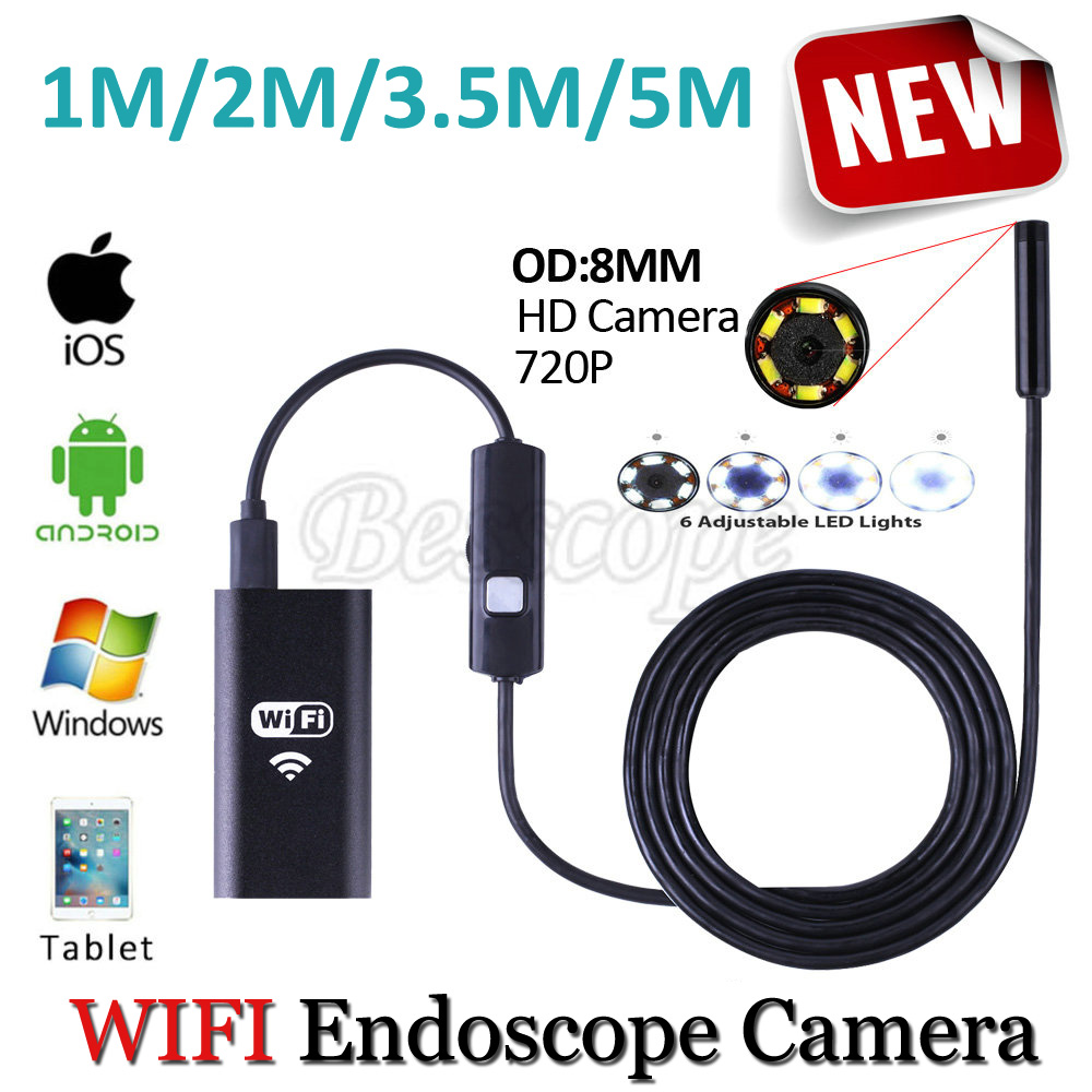 HD720P WIFI Iphone Endoscope Serpent USB Caméra 8mm Objectif 5 M 3.5 M 2 M 1 M Android Tablet PC Tuyau D'inspection Endoscope USB caméra