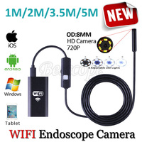 HD720P WIFI Iphone Endoscope Snake USB Camera 8mm Lens 5M 3 5M 2M 1M Android Tablet