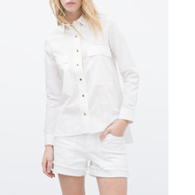 Nice Fashion Women Cotton White Blouses Elegant Office OL Blouses Front Short Back Long Shirts Big Pockets Blouse Style Tops
