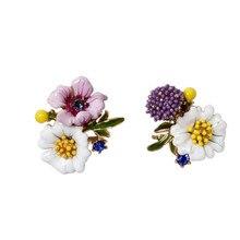 Warmhome Trendy Jewelry Enamel Glaze Fashion Plant Chrysanthemum Daisy Flowers Asymmetry Gem For Women Stud Earrings