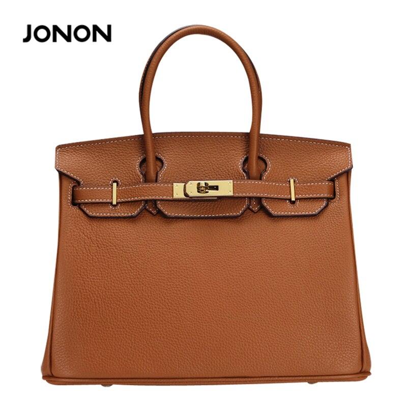 ФОТО Women's Leather Bag Padlock Handbags Golden Hardware Brown Handbag White Line Brand Desinger Woman Tote Bags Leather Handbag