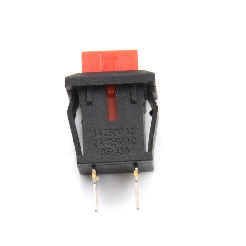 10 шт./лот, Красный квадратный выключатель SPST 6,5 мм/0,26 дюйма, без блокировки, сброс/самоблокирующийся кнопочный переключатель, небольшие пере...